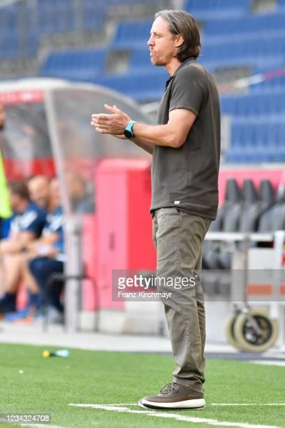 Head coach Rene Aufhauser of Liefering during the 2. Liga match between FC Liefering and spusu SKN St. Poelten on July 30, 2021 in Salzburg, Austria.
