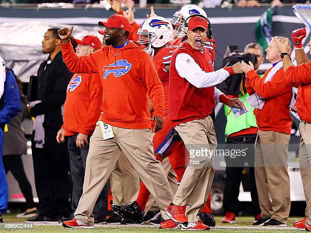 Head coach Rex Ryan of the Buffalo Bills celebrates a second quarter touchdown by Duke Williams against the New York Jets at MetLife Stadium on...