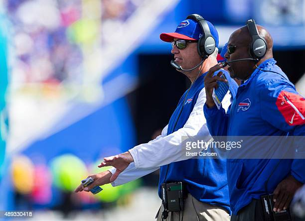 Head coach Rex Ryan of the Buffalo Bills declines a penalty during the first half against the New England Patriots on September 20 2015 at Ralph...