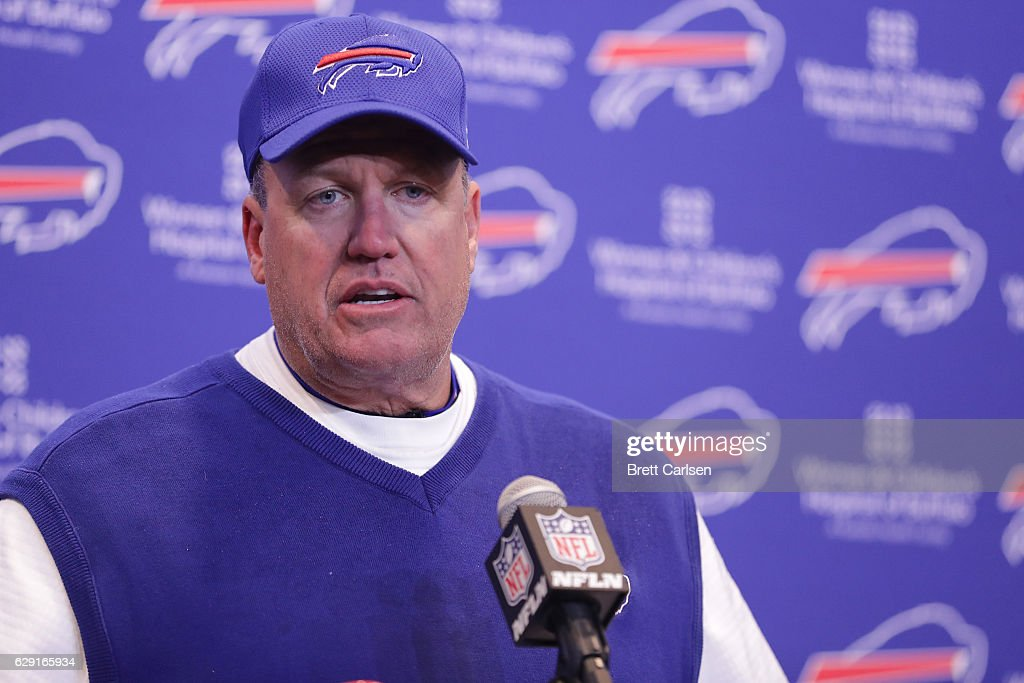 Head coach Rex Ryan of the Buffalo Bills talks to the meda after losing 27-20 to the Pittsburgh Steelers at New Era Field on December 11, 2016 in Orchard Park, New York.