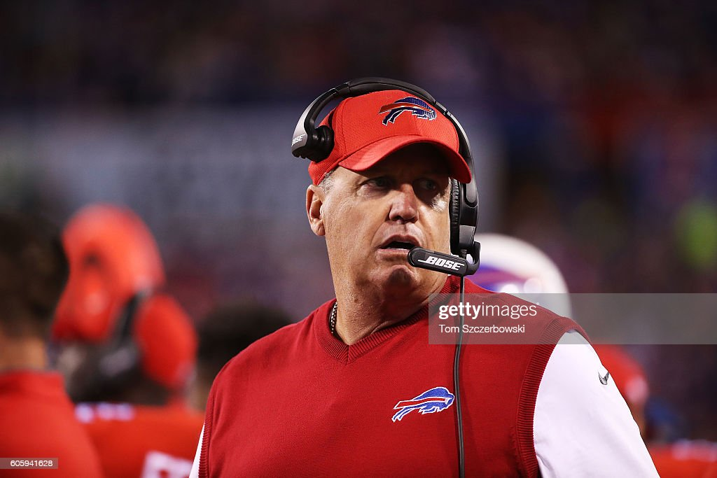 Head Coach Rex Ryan of the Buffalo Bills walks the sidelines in a game against the New York Jets at New Era Field on September 15, 2016 in Orchard Park, New York.