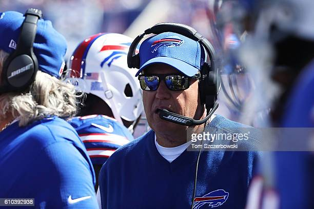 Head Coach Rex Ryan of the Buffalo Bills watches his team play the Arizona Cardinals during the first half at New Era Field on September 25 2016 in...