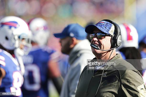 Head Coach Rex Ryan of the Buffalo Bills watches the game from the sidelines during the first half against the Buffalo Bills at Ralph Wilson Stadium...