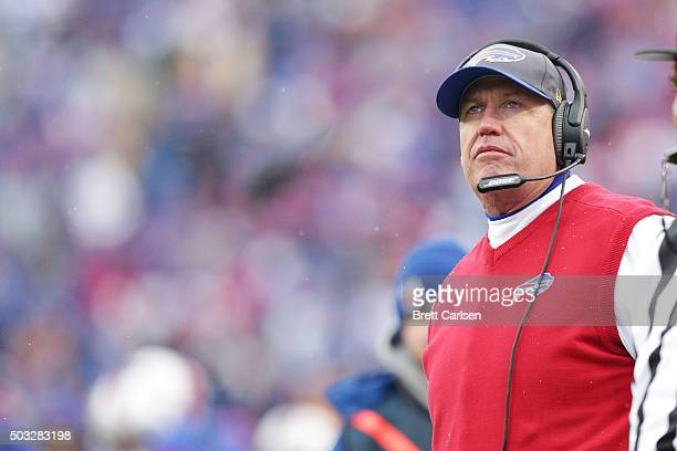Head Coach Rex Ryan of the Buffalo Bills watches the scoreboard from the sideline against the New York Jets during the first half at Ralph Wilson...