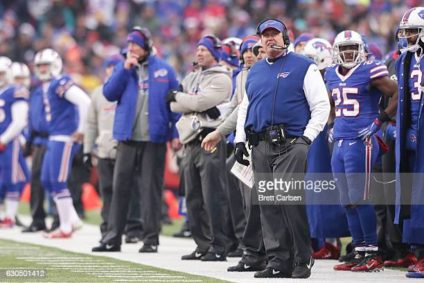 Head coach Rex Ryan of the Buffalo Bills works the sidelines against the Miami Dolphins during the second half at New Era Stadium on December 24 2016...