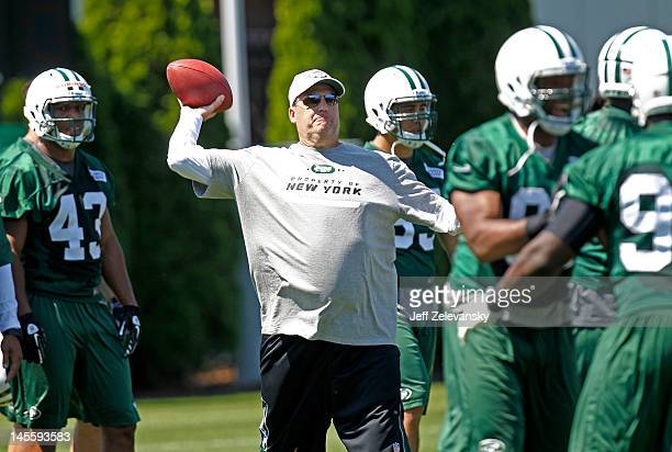 Head coach Rex Ryan of the New York Jets attends an organized team activity at the New York Jets practice facility on May 24 2012 in Florham Park New...