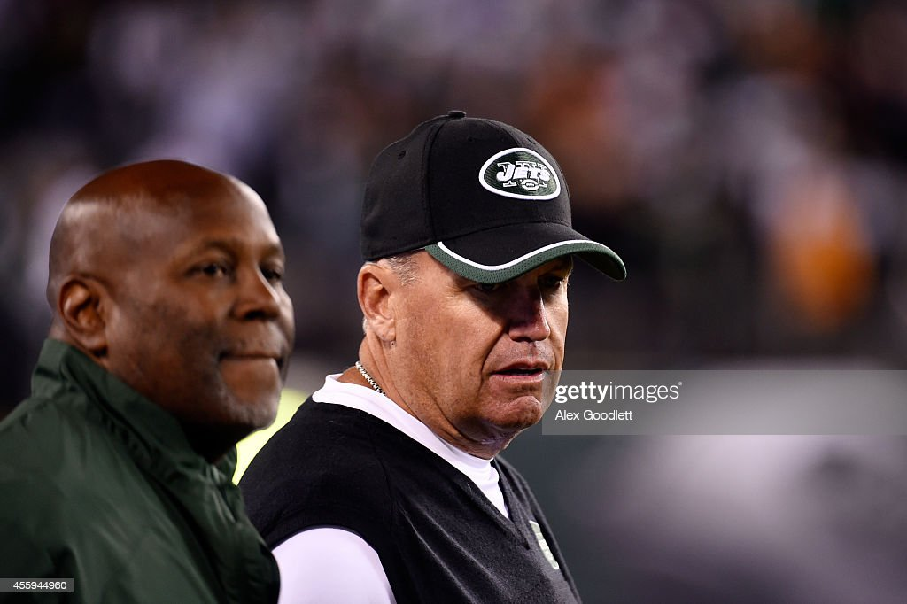 Head coach Rex Ryan of the New York Jets looks on against the Chicago Bears during a game at MetLife Stadium on September 22, 2014 in East Rutherford, New Jersey.