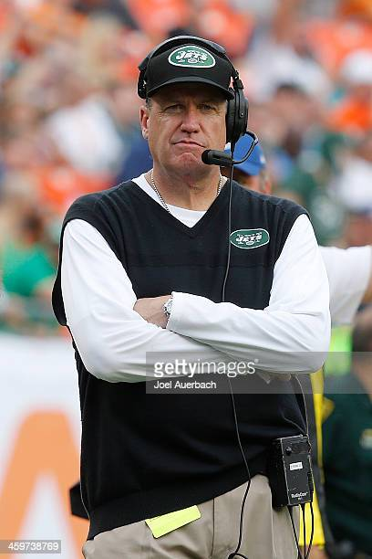 Head coach Rex Ryan of the New York Jets looks on from the sideline during fourth quarter action against the Miami Dolphins on December 29 2013 at...