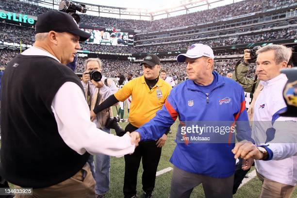 Head coach Rex Ryan of the New York Jets meets with head coach Chan Gailey of the Buffalo Bills after their game on November 27 2011 at MetLife...