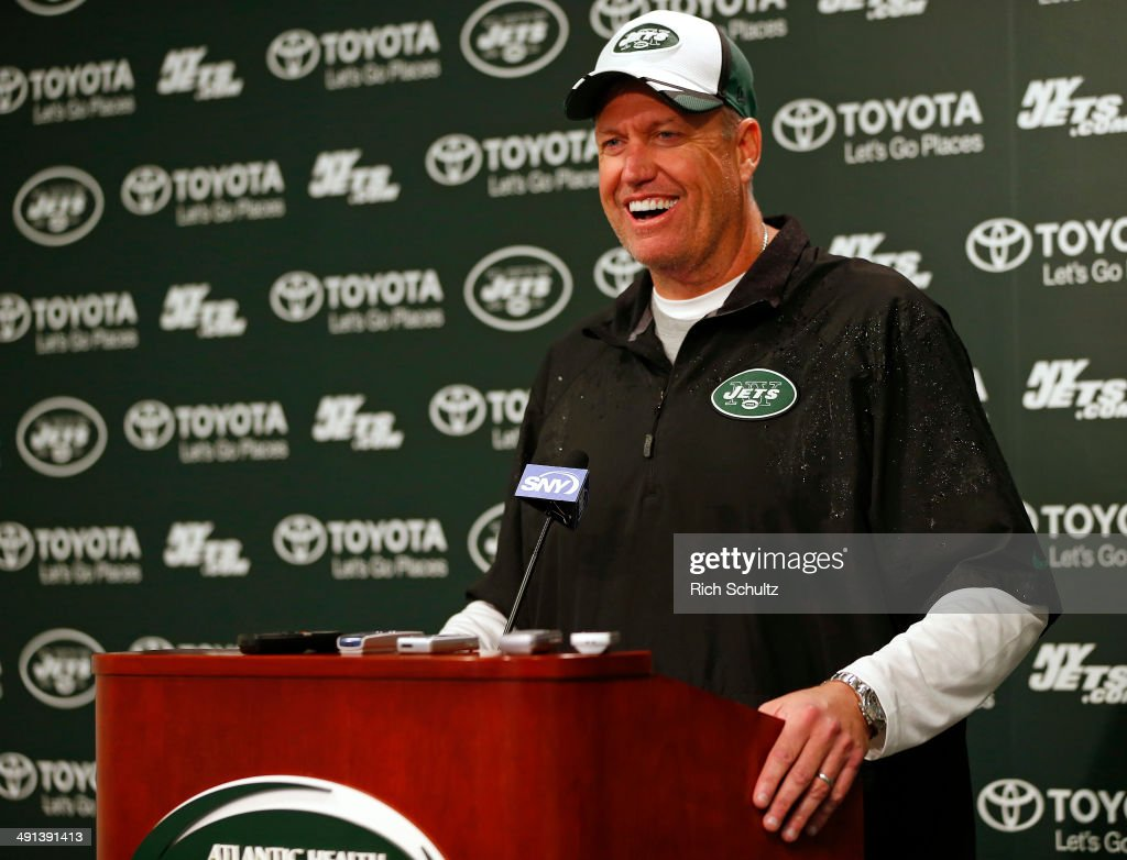 Head Coach Rex Ryan of the New York Jets talks with the media after their first day of rookie minicamp on May 16, 2014 in Florham Park, New Jersey.