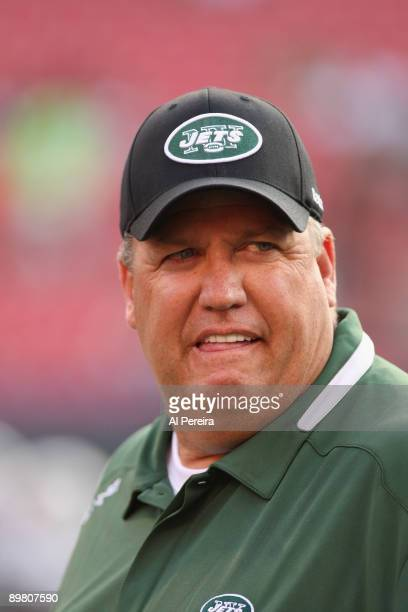 Head Coach Rex Ryan of the New York Jets watches the play during a preseason game between St Louis Rams and New York Jets on August 14 2009 in East...