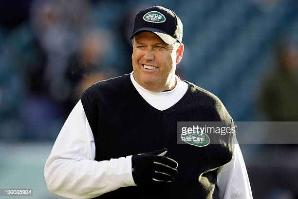 Head coach Rex Ryan of the New York Jets winks at the crowd while taking the field before the start of the Jets game against the Philadelphia Eagles...