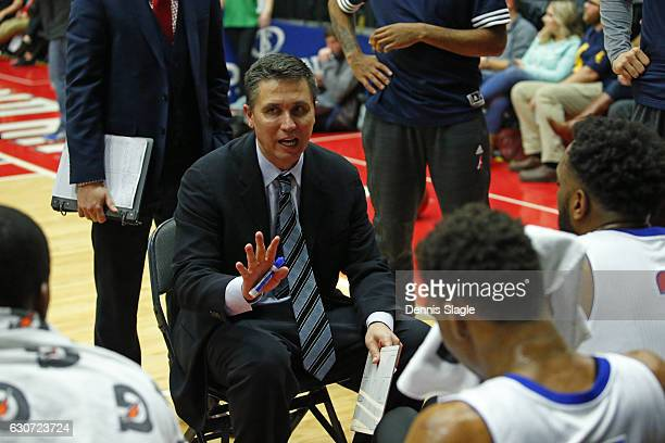 Head Coach Rex Walters of the Grand Rapids Drive talks to his team against the Greensboro Swarm at The DeltaPlex Arena on December 30 2016 in Grand...