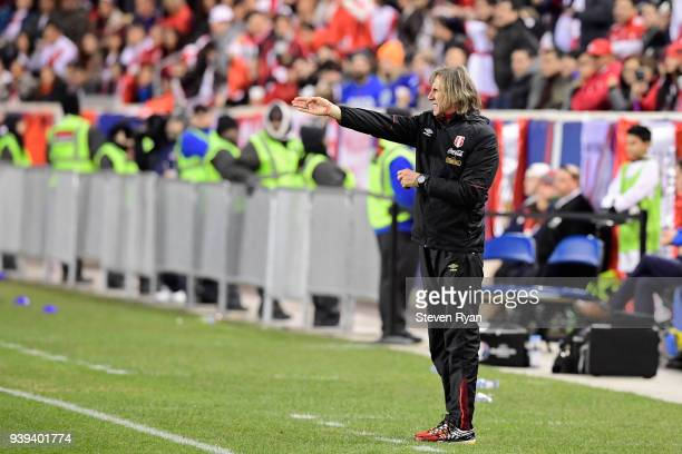 Head coach Ricardo Gareca of Peru looks on against the Iceland in an International Friendly match at Red Bull Arena on March 27 2018 in Harrison New...