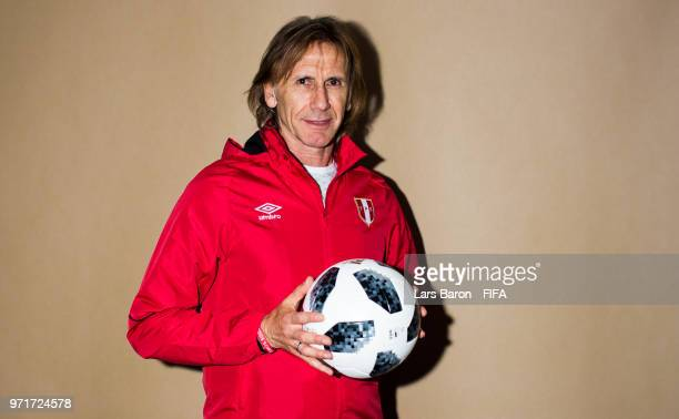 Head coach Ricardo Gareca of Peru poses for a portrait during the official FIFA World Cup 2018 portrait session on June 11 2018 in Moscow Russia