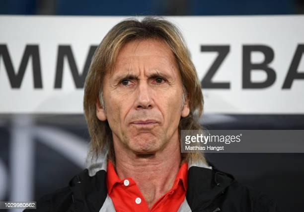 Head coach Ricardo Gareca of Peru seen during the International Friendly match between Germany and Peru on September 9, 2018 in Sinsheim, Germany.