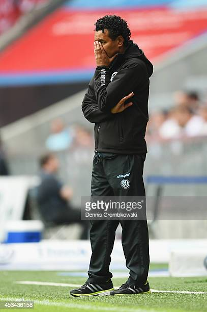 Head coach Ricardo Moniz of 1860 Muenchen looks dejected during the Second Bundesliga match between TSV 1860 Muenchen and RB Leipzig at Allianz Arena...