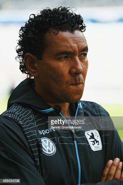 Head coach Ricardo Moniz of 1860 Muenchen looks on prior to the Second Bundesliga match between TSV 1860 Muenchen and RB Leipzig at Allianz Arena on...