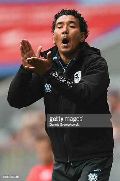 Head coach Ricardo Moniz of 1860 Muenchen reacts during the Second Bundesliga match between TSV 1860 Muenchen and RB Leipzig at Allianz Arena on...