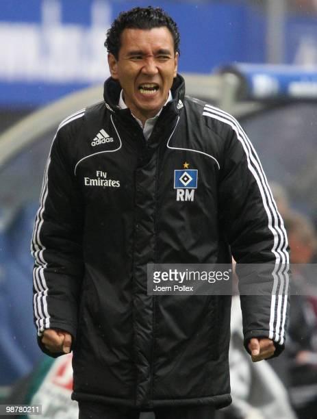 Head coach Ricardo Moniz of Hamburg gestures during the Bundesliga match between Hamburger SV and 1 FC Nuernberg at HSH Nordbank Arena on May 1 2010...