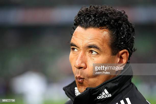 Head coach Ricardo Moniz of Hamburg looks on prior to the Bundesliga match between SV Werder Bremen and Hamburger SV at Weser Stadium on May 8 2010...