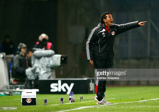 Head coach Ricardo Moniz of Salzburg argues during the Bundesliga match between Sturm Graz v Red Bull Salzburg at UPCArena on October 23 2011 in Graz...