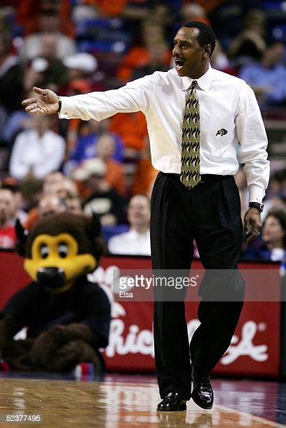 Head coach Ricardo Patton of the Colorado Buffaloes argues a call in the second half against the Oklahoma State Cowboys in Day 2 of the Phillips 66...