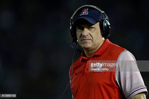 Head coach Rich Rodriguez looks on during the first half of a game against the UCLA Bruins at the Rose Bowl on October 1 2016 in Pasadena California