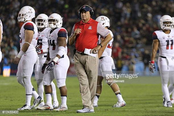 Head coach Rich Rodriguez of the Arizona Wildcat looks on during the first half of a game against the UCLA Bruins at Rose Bowl on October 1 2016 in...