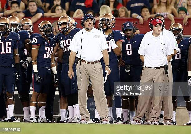 Head coach Rich Rodriguez of the Arizona Wildcats during the college football game against the Oregon State Beavers at Arizona Stadium on September...