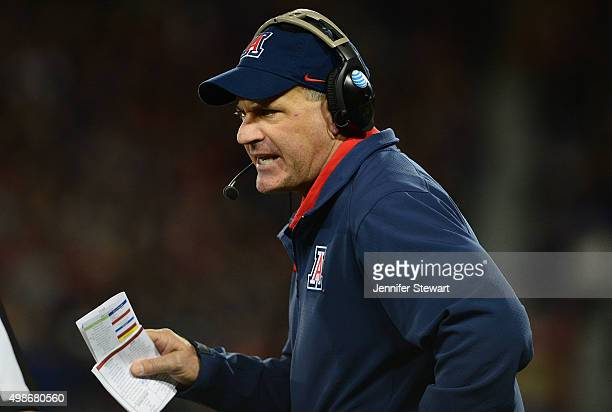 Head coach Rich Rodriguez # of the Arizona Wildcats looks on from the sidelines in the game against the Utah Utes at Arizona Stadium on November 14...