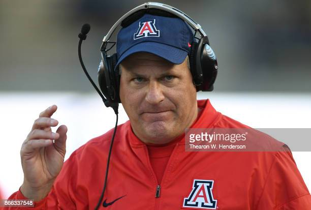 Head coach Rich Rodriguez of the Arizona Wildcats looks on from the sidelines against the California Golden Bears during an NCAA football game at...