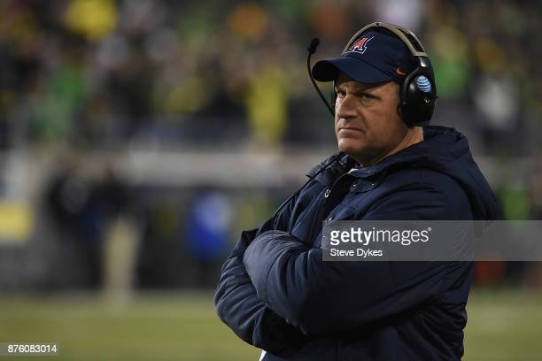 Head coach Rich Rodriguez of the Arizona Wildcats looks on from the sidelines during the second half of the game against the Oregon Ducks at Autzen...