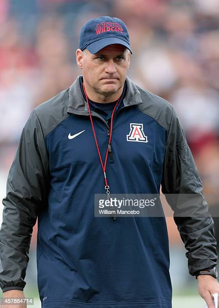Head coach Rich Rodriguez of the Arizona Wildcats looks on prior to the game against the Washington State Cougars at Martin Stadium on October 25...