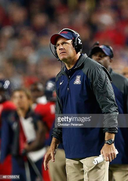 Head coach Rich Rodriguez of the Arizona Wildcats on the sidelines during the Vizio Fiesta Bowl against the Boise State Broncos at University of...