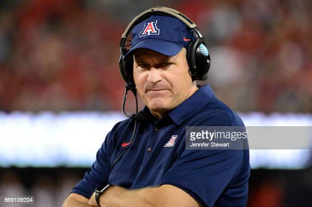 Head coach Rich Rodriguez of the Arizona Wildcats reacts during the game against the Washington State Cougars at Arizona Stadium on October 28, 2017...