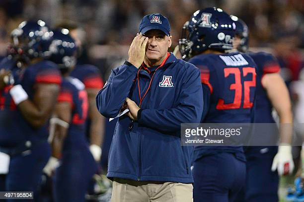 Head coach Rich Rodriguez of the Arizona Wildcats reacts on the field prior to the game against Utah Utes at Arizona Stadium on November 14 2015 in...