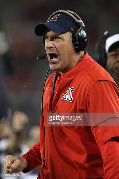 Head coach Rich Rodriguez of the Arizona Wildcats reacts on the sidelines during the Territorial Cup college football game against the Arizona State...