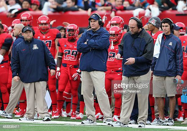 Head coach Rich Rodriguez of the Arizona Wildcats watches from the sidelines during the college football game against the Oregon Ducks at Arizona...