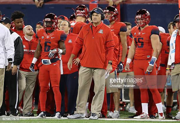 Head coach Rich Rodriguez of the Arizona Wildcats watches from the sidelines during the Territorial Cup college football game against the Arizona...