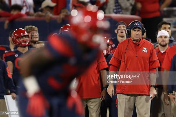Head coach Rich Rodriguez of the Arizona Wildcats watches from the sidelines during the second half of the college football game against the Oregon...