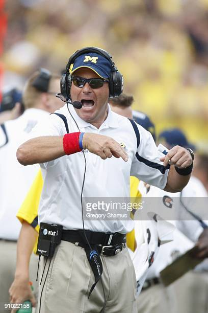 Head coach Rich Rodriguez of the Michigan Wolverines gestures during the game against the Western Michigan Broncos on September 5, 2009 at Michigan...