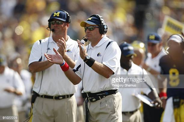 Head coach Rich Rodriguez of the Michigan Wolverines looks on during the game against the Western Michigan Broncos on September 5, 2009 at Michigan...