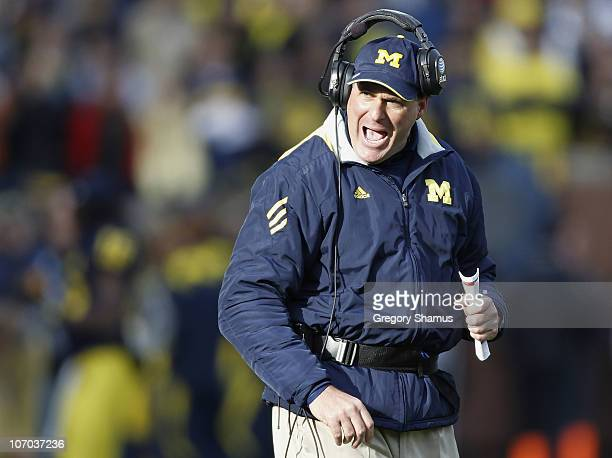 Head coach Rich Rodriguez of the Michigan Wolverines reacts while playing the Wisconson Badgers at Michigan Stadium on November 20, 2010 in Ann...