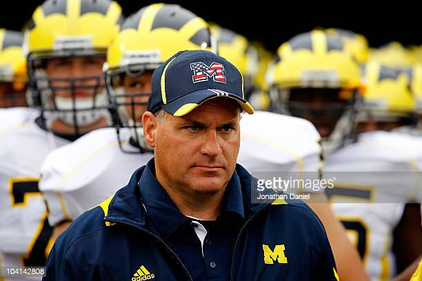 Head coach Rich Rodriguez of the Michigan Wolverines waits with his team before entering the field for a game against the Notre Dame Fighting Irish...