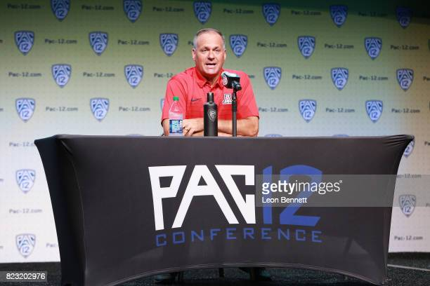 Head coach Rich Rodriguez of the University of Arizona Wildcats speaks to the media during PAC12 Media Days on July 26 2017 in Hollywood California