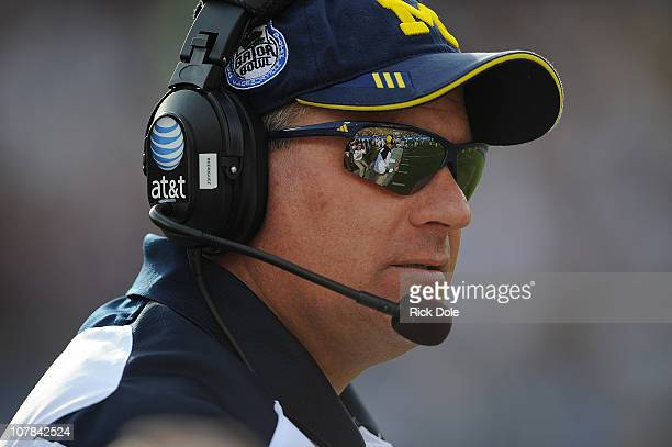 Head Coach Rich Rodriguez of the University of Michigan Wolverines during the Gator Bowl at EverBank Field on January 1, 2011 in Jacksonville, Florida