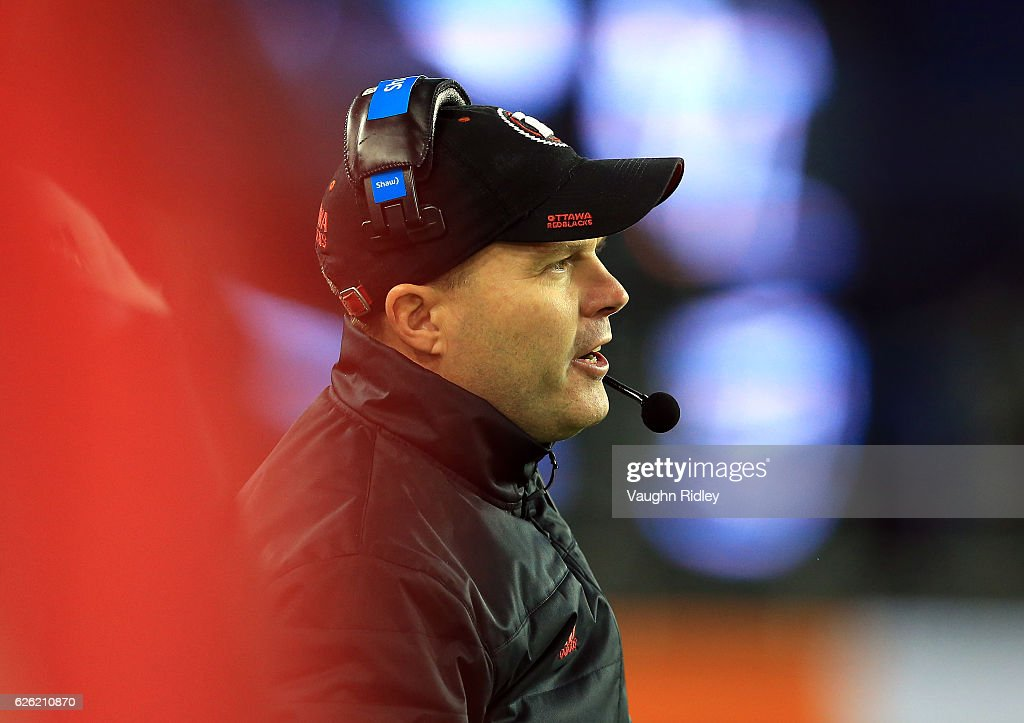 Head Coach Richard Campbell of the Ottawa Redblacks looks on from the sidelines during the second half of the 104th Grey Cup Championship Game against the Calgary Stampeders at BMO Field on November 27, 2016 in Toronto, Canada.