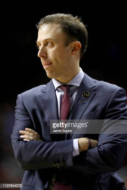 Head coach Richard Pitino of the Minnesota Golden Gophers looks on against the Michigan State Spartans during the first half in the second round game...