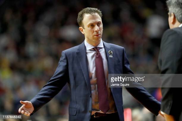Head coach Richard Pitino of the Minnesota Golden Gophers reacts against the Michigan State Spartans during the first half in the second round game...